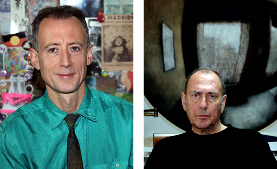 Peter Thatchell and Harold Pinter by Geoff Woolf