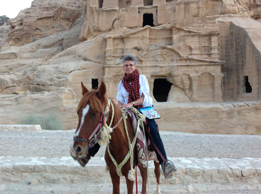 Riding out of Petra on my free horse